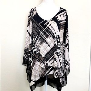 Alfani black and white abstract plaid blouse